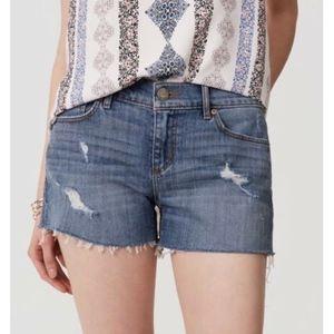 LOFT Raw Hem Distressed Jean Shorts 14